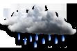 Encoberto com Chuvas Isoladas - Céu totalmente encoberto sem aberturas e chuvas isoladas.