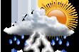 Nublado e Pancadas de Chuva - Muitas nuvens com curtas aberturas e pancadas de chuva localizadas que poderão ser fortes e vir acompanhadas de trovoadas a qualquer hora do dia.