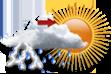 Nublado com possibilidade de pancada de chuva e trovoadas a partir da tarde - Muitas nuvens com curtas aberturas e com chance pequena de pancadas de chuva localizadas que poderão ser fortes e vir acompanhadas de trovoadas a partir da tarde.
