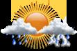 Pancadas de Chuva - Variação de nuvens e pancadas de chuva localizadas que poderão ser fortes e vir acompanhadas de trovoadas a qualquer hora do dia.