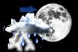 Pancadas de Chuva à Noite - Variação de nuvens durante o dia com pancadas de chuva localizadas que poderão ser fortes e vir acompanhadas de trovoadas à noite.